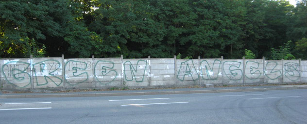 """Green Angels"" tag on the edge of a road leading from the motorway to the Stade Geoffroy-Guichard (photo © B. Ginhoux)"