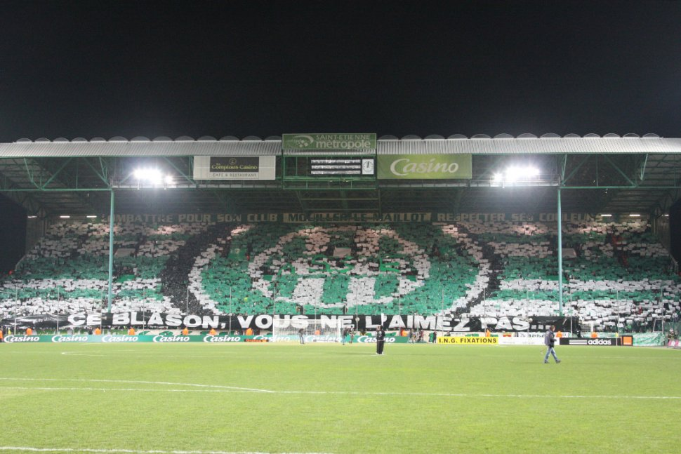 "First part of the ""tifo"" performed by the Green Angels during the local derby (2011/2012 season), highlighting the fact that AS Saint-Étienne had a better league position than arch-rivals Olympique Lyonnais (photo © Green Angels)"