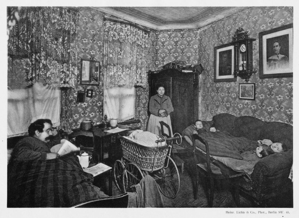 "Main room: L. 4 m [13'1""], W. 3,60 m [11'10""], H. 3 m [9'10""]. The dwelling is composed of a main room and a kitchen. The air is difficult to breathe; the naked floorboards are black with dirt, with rags and refuse in the corners. Seven people sleep in the main room. A straw mattress has been placed on a sofa, which has been extended using two chairs to accommodate four children, who sleep two by two and top-to-tail, covered by a light quilt, without sheets. The husband and wife sleep in the one and only bed. A four-week-old child, with tuberculosis, is lying in a stroller, covered with an old blanket saturated with sweat and urine. The parents say he cries day and night. To calm his crying, his brothers and sisters rock the stroller. The child receives no medical care whatsoever, as the father suffers from rheumatism and cannot work."