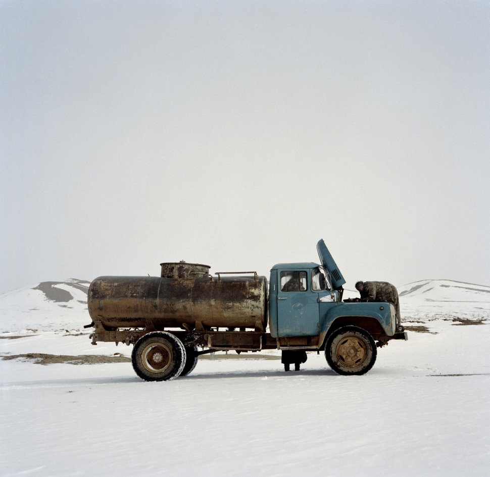 <p>The only water supply for Bogd, a village of 5,000 inhabitants, is this tanker. That day, it broke down three times on the 12‑kilometre (7.5‑mile) journey from the well to the village.</p> <p>Bogd, Gobi Desert, March 2011.</p>