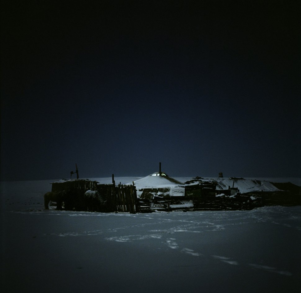 <p>Yurts in the country after a snowstorm.</p> <p>Bogd, Gobi Desert, March 2011.</p>